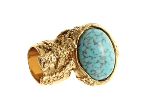 YSL - Iconic Arty Oval Ring (Turquoise with gold-plated)