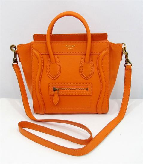 Celine Orange Luggage Nano Mini Tote Shoulder Bag.